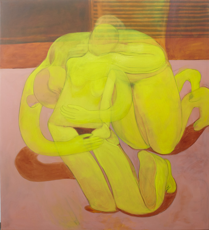 Tahnee Lonsdale Embracing Yellow Nudes, 2018 oil on canvas 139.7 x 127 cm 55 x 50 in