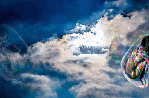 Derrick Santini, Katie In The Sky Of Bubbles, 2017