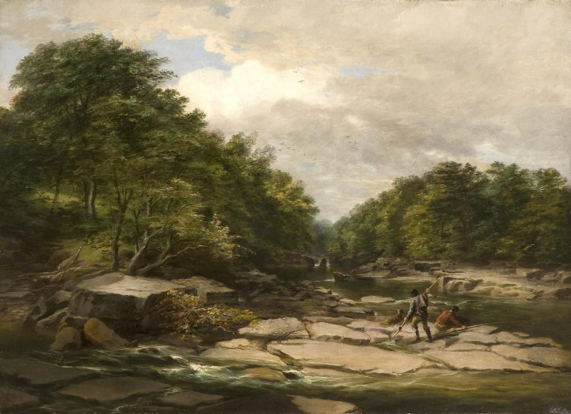 Isaac F Bird, Fishermen in a river landscape