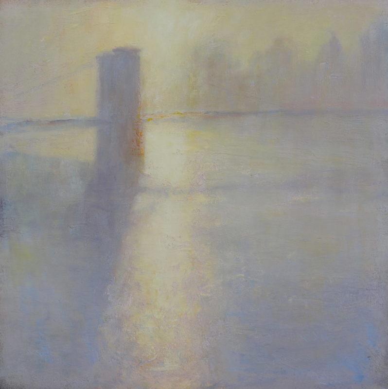 Edward Noott RBSA, Brooklyn Bridge under fog