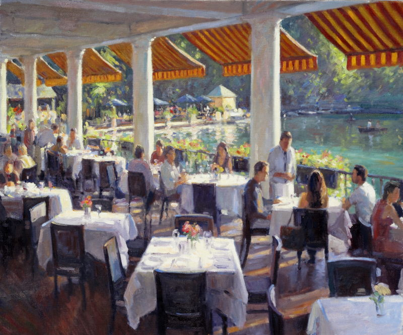 Edward Noott RBSA, The Boat House Central Park SOLD