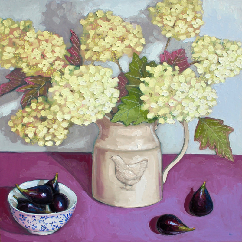 Halima Washington-Dixon, Oakleaf Hydrangeas with black figs