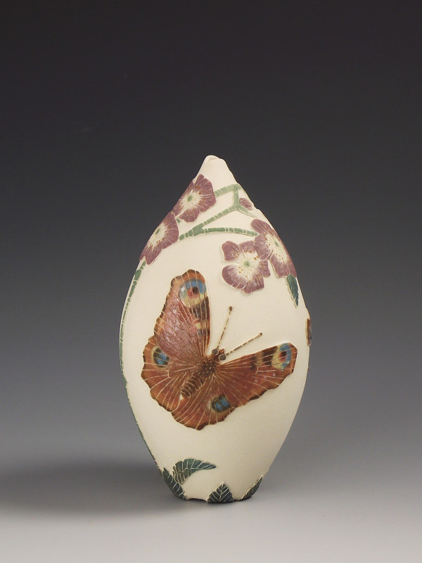 Tiffany Scull, Peacock butterflies & Dog rose vessel