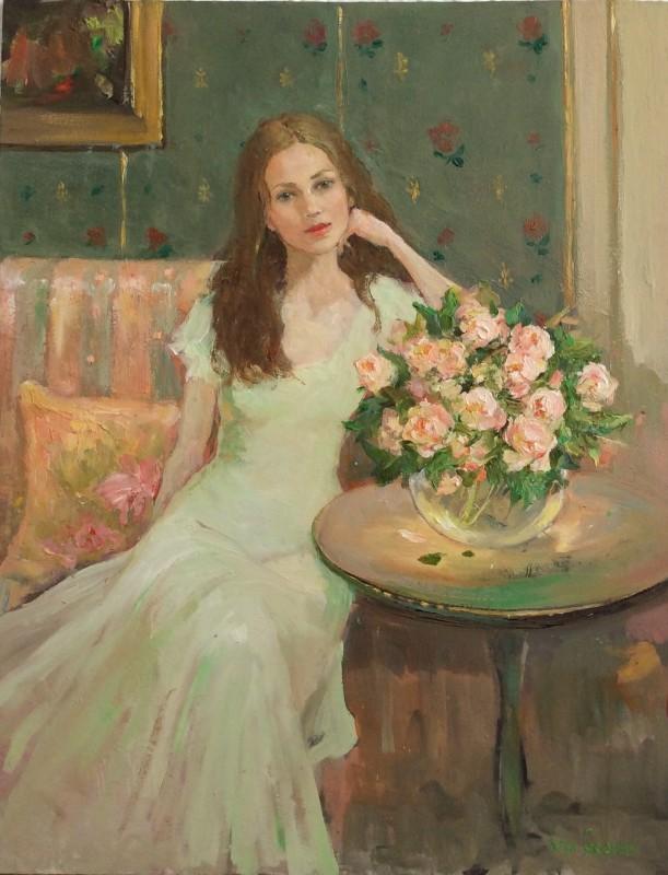 Katya Gridneva, Portrait with pink peonies