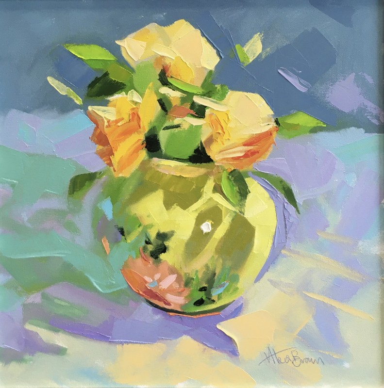 Alex Brown, Green Vase, Yellow Roses