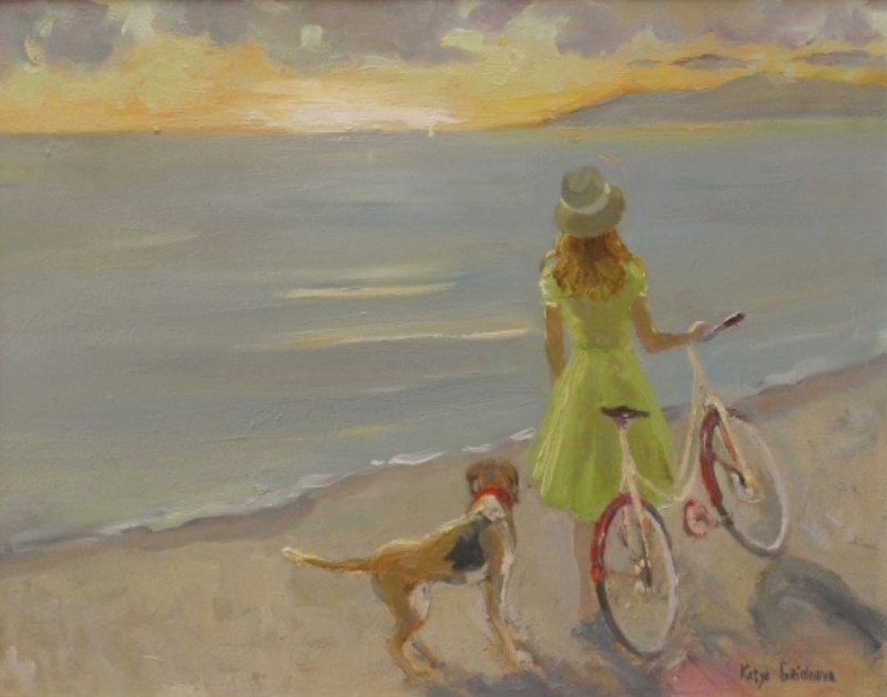 Katya Gridneva, Girl with dog on the beach