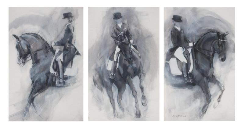 Sally Martin, Dressage essence - pirouette - monochrome triptych
