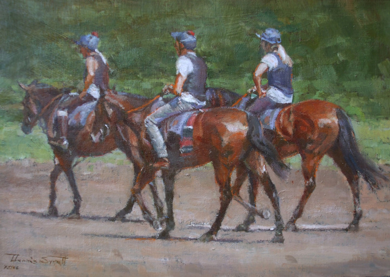 Dennis Syrett, PPROI RSMA RBA, After the gallop, Newmarket