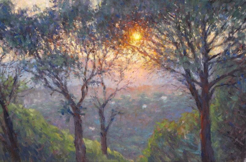 Edward Noott RBSA, Setting sun, Provence