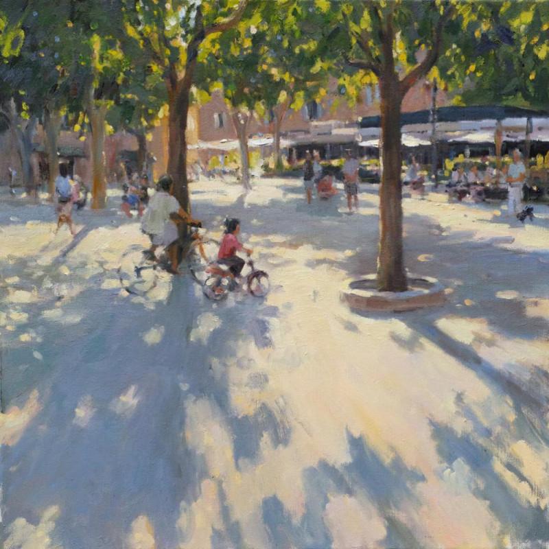 Edward Noott RBSA, Bicycles, Place des Lices, St Tropez