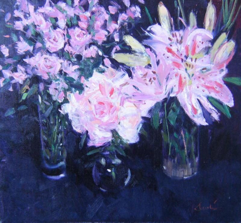 George Devlin RSW RGI FRSA RBA ROI ARWS, Arranging the flowers