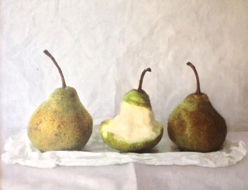 Kate Verrion, Three pears - one eaten