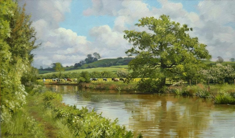 Peter Barker RSMA, Cattle by the Canal