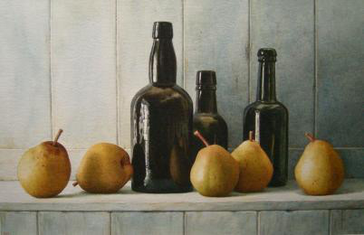 Nigel Ashcroft, Still life with bottles & pears