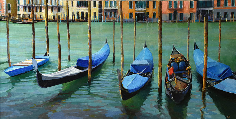 Alan Thompson, Blue gondolas on the Grand Canal Venice