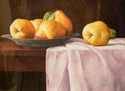 Nigel Ashcroft, Pears on a pewter plate