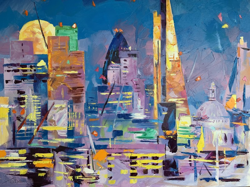 Alex Brown, City in moonlight