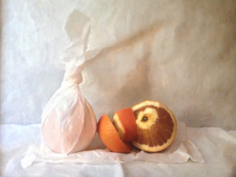 Kate Verrion, Two oranges - one wrapped