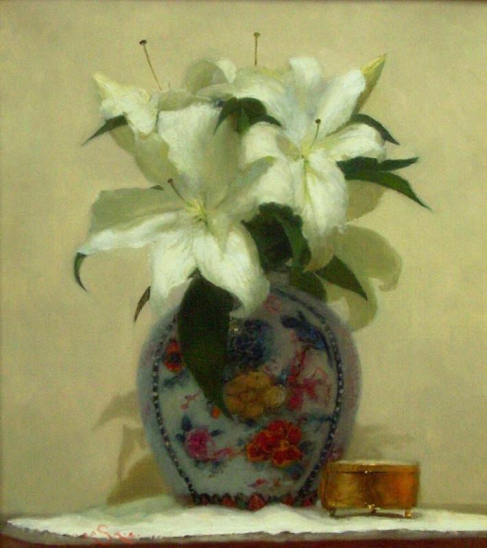 Paul Seaton, Vase of white lilies
