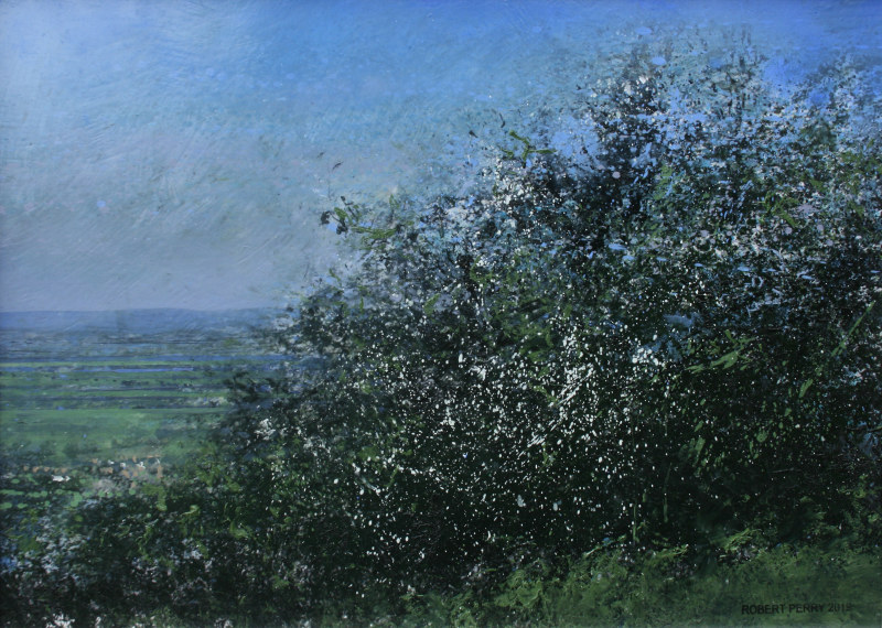 Robert Perry RBSA, A glimpse of Saintbury through the May blossom on Willersey Hill