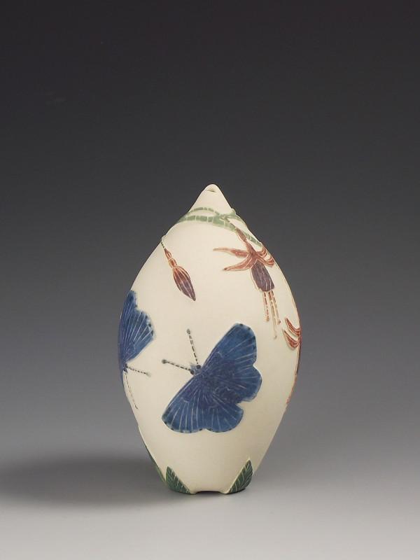 Tiffany Scull, Holy Blue butterflies & Fuchsia vessel
