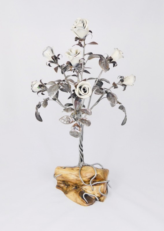 Keith Evans, Ivory rose tree, Yew tree base