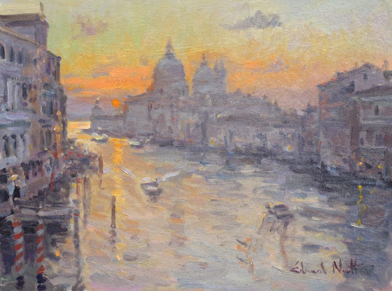 Edward Noott RBSA, Day break, Venice - Study