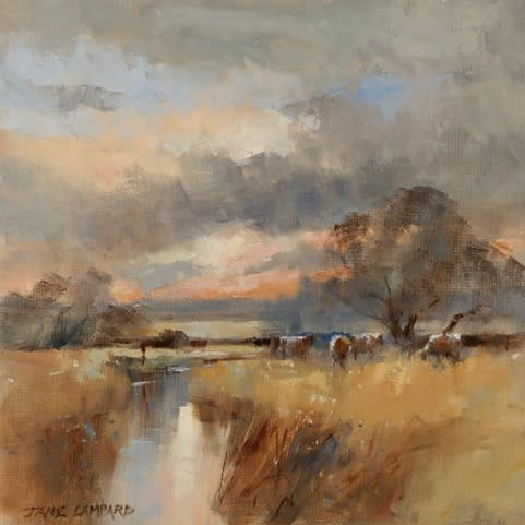 Jane Lampard, Cattle in the evening, River Coln