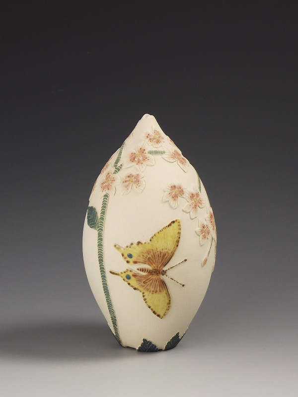 Tiffany Scull, Swallow tailed butterflies & Apple blossom vessel