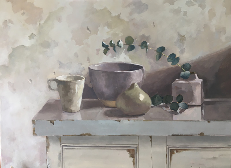 Penny German ARBSA, Eucalyptus and pots