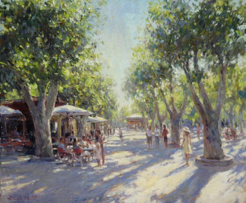 Edward Noott RBSA, Long shadows, St Tropez SOLD
