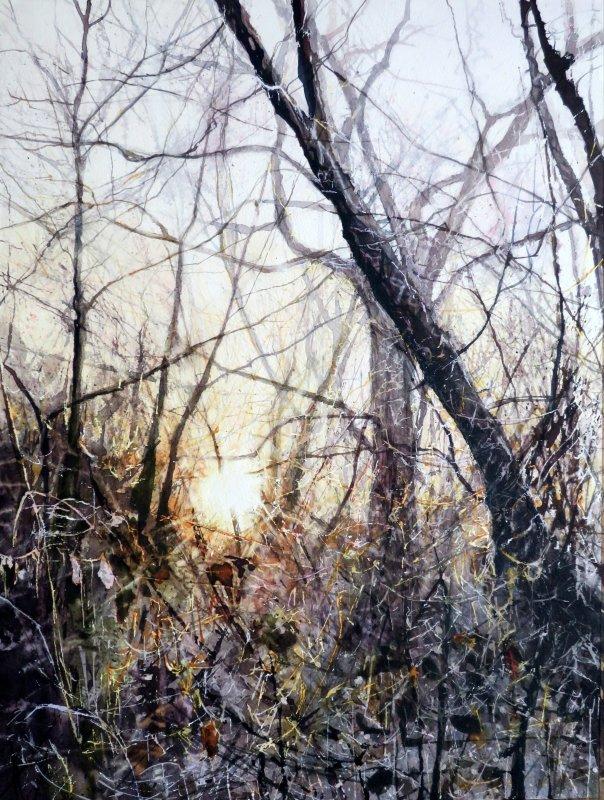 Deborah Walker RI RSMA, Stripped orange & cerise trances