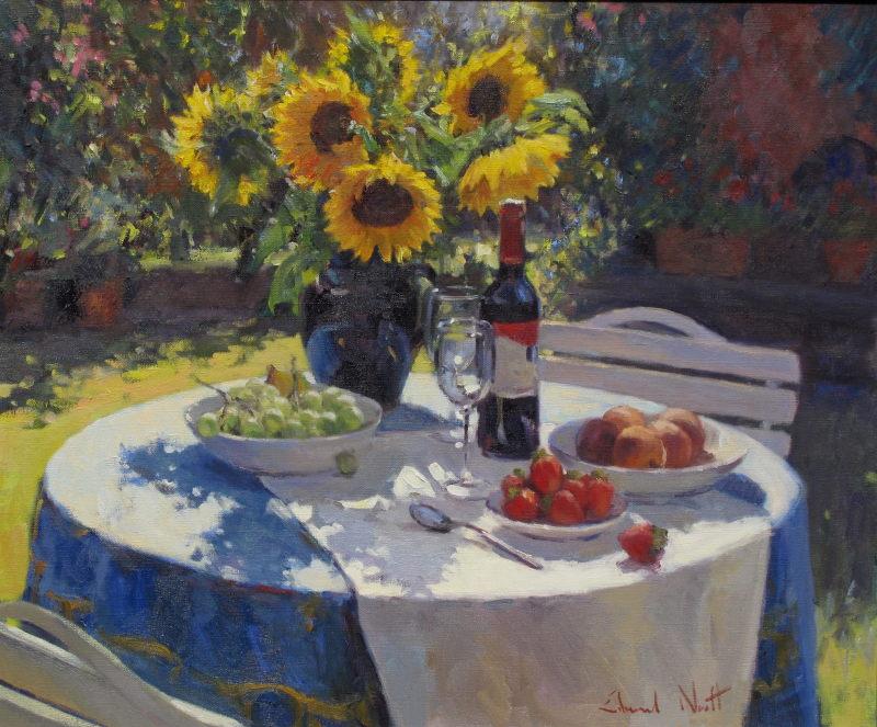 Edward Noott RBSA, Sunflowers and wine