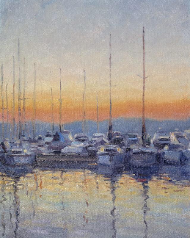 Edward Noott RBSA, Boats at St Tropez