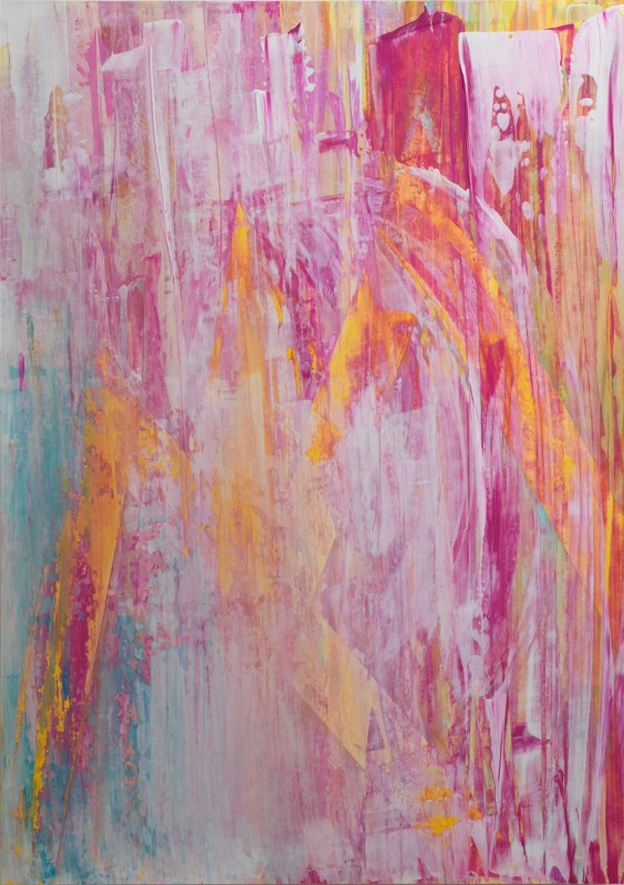 Lisa Sharpe Paintings, Yellow, White, Pink, Aquamarine