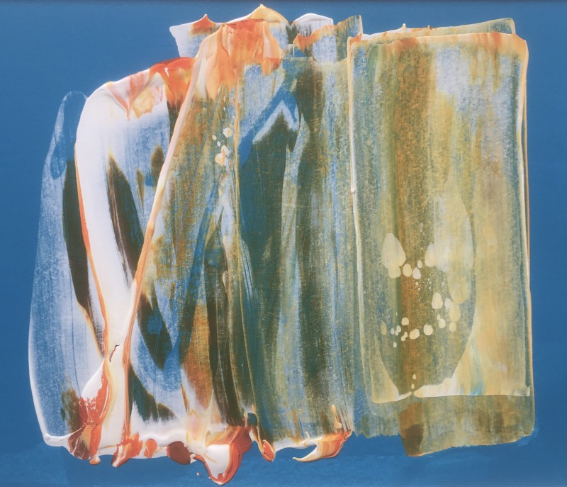 Lisa Sharpe Paintings, Orange, Blue, White I