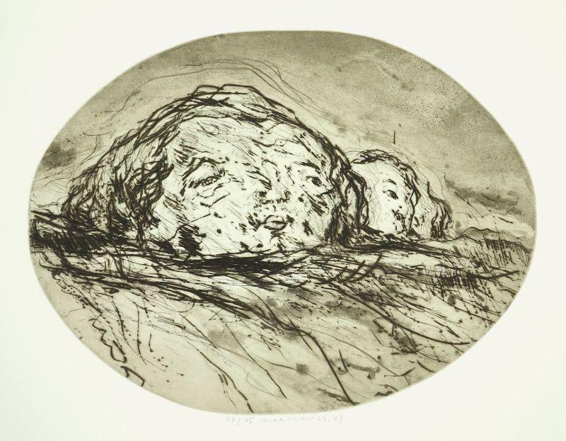 Marwan, 1934-2016, Zwei Kpfe in Landschaft, 1972/74