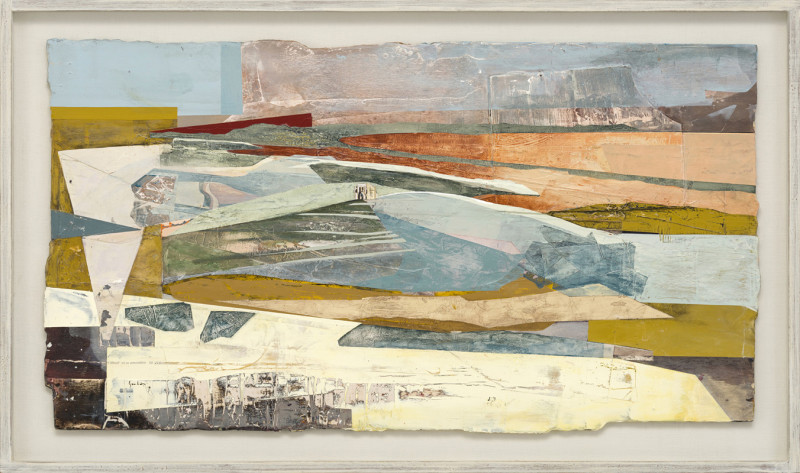 Cat 23 St Catherine's Chapel and Chesil Bank, Dorset signed and dated 2018 titled verso acrylic and jesmonite on poplar panel 60 x 110 cms (23.5 x 43.5 ins) framed: 72 x 123 cms (28.5 x 48.5 ins)