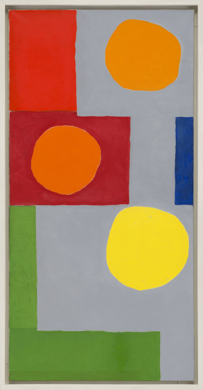 Patrick Heron Cat 7 May 1965 dated May 1965 verso oil on canvas 183 x 91.5 cms (72 x 36 ins) framed: 192 x 100 cms (75½ x 39½ ins)