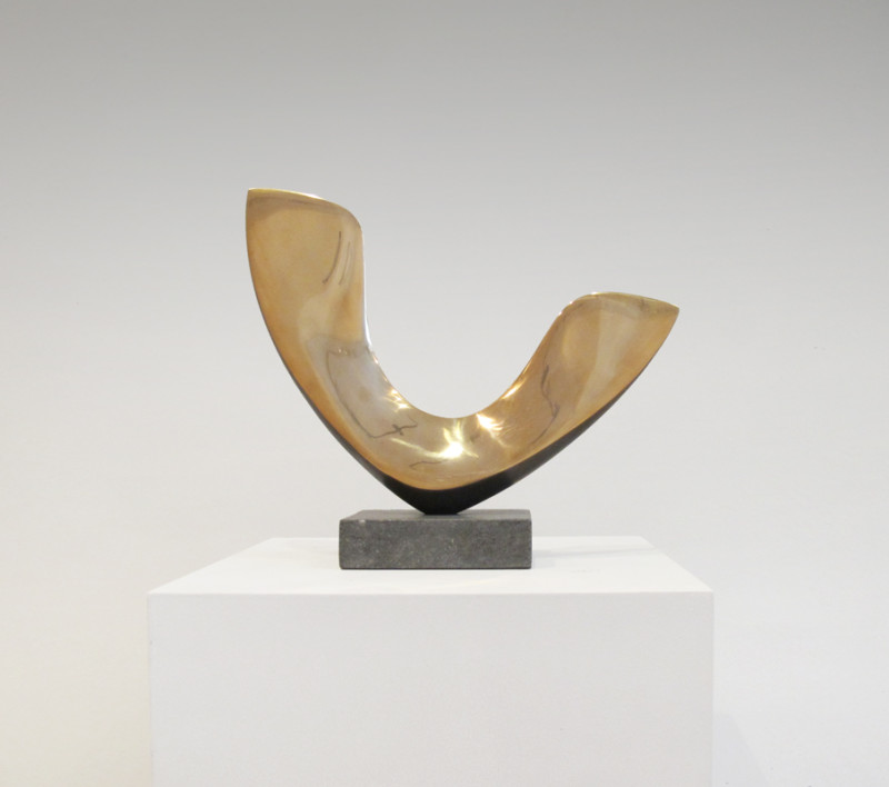 Robert Fogell Born 1963 Sycamore Seed stamped with initials number 1 from an edition of 5 cast in 2020 polished bronze on stone base 25.5 x 29 cms (10 x 11½ ins)
