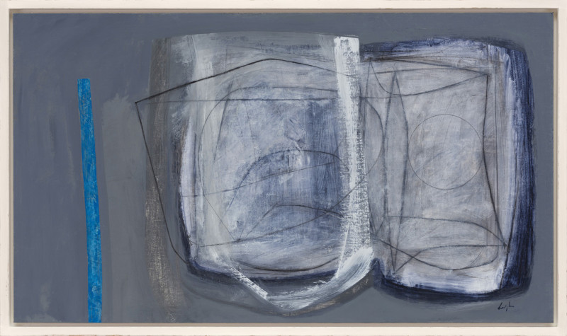Leigh Davis Cat 21 Coastal Forms, St Ives signed also signed, titled and dated 2020 verso acrylic on linen laid on panel 70 x 122 cms (27½ x 48 ins) framed: 76 x 128 cms (30 x 50½ ins)