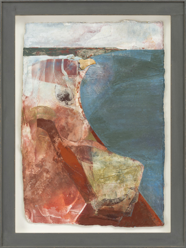 Jeremy Gardiner Cat 24 Seatown Beach III signed, titled and dated 2018 acrylic and jesmonite on handmade cotton rag paper 53 x 37 cms (21 x 15 ins) framed: 64 x 48 cms (25 x 19 ins)