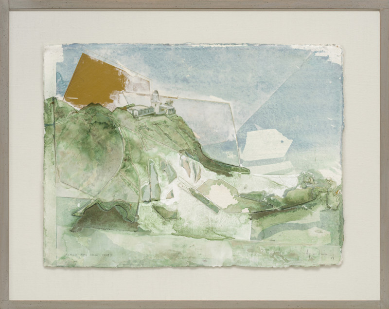 Jeremy Gardiner Against the Rocks, Lundy signed, titled and dated 2017 watercolour and jesmonite with acrylic 30.5 x 43 cms (12 x 17 ins) framed: 45.5 x 58 cms (18 x 23 ins)