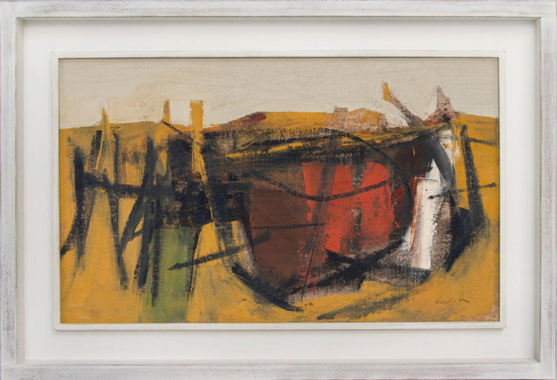 Leigh Davis Cat 1 Wrecked Barge, Pin Mill, Composition No 1 signed also signed, titled and dated 2020 verso oil on linen laid on panel 30 x 50 cms (12 x 20 ins) framed: 41 x 61 cms (16 x 24 ins)