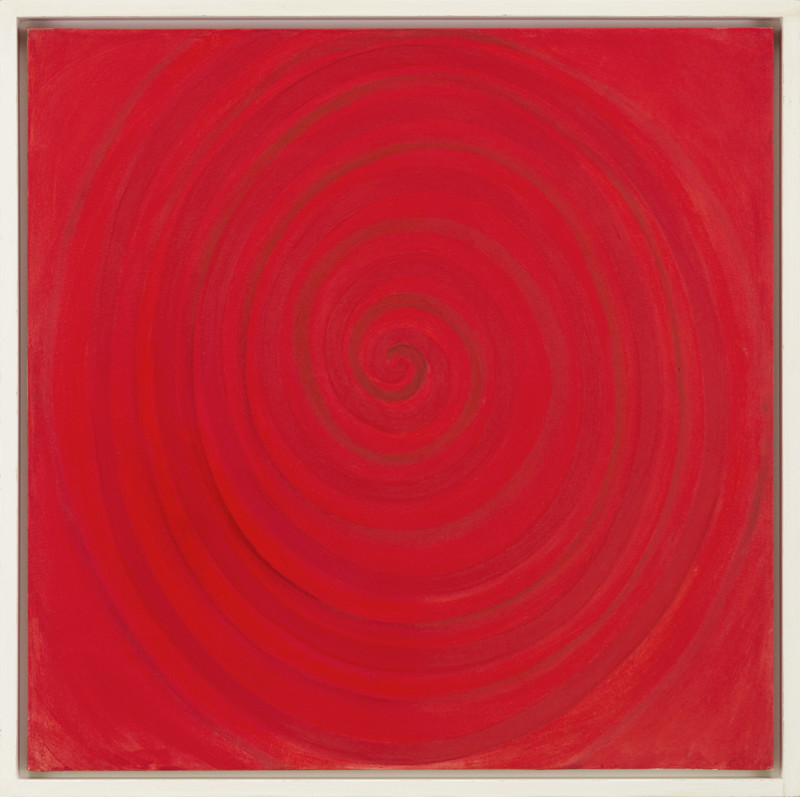 Terry Frost Cat 9 Spiral for Red signed, titled and dated 1996 verso acrylic on canvas 91.5 x 91.5 cms (36 x 36 ins) framed: 99 x 99 cms (39 x 39 ins)