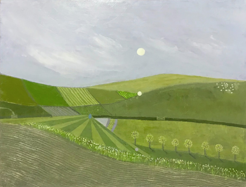 Tim Woolcock A Dorset Moon signed with artist initials and dated 2018 titled verso oil on panel 34 x 44 cms (13½ x 17¼ ins) framed: 40.5 x 51 cms (16 x 20 ins)
