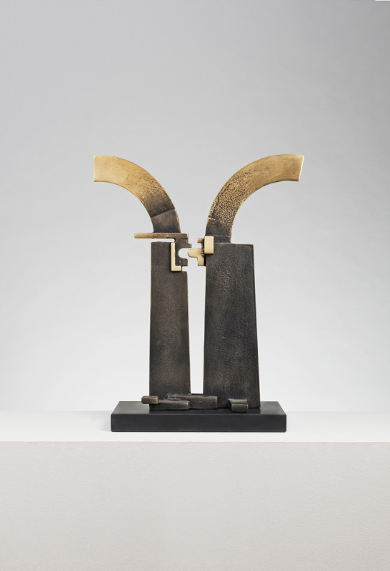 Jonathan Clarke Born 1961Connection signed with artist's initials and dated 2018 unique bronze on slate base 47 cms (H) (18.5 ins)