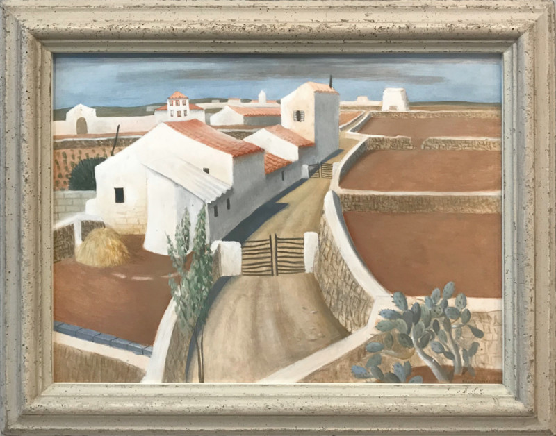 Mediterranean Farms  signed  painted in the 1950s  tempera and gouache  38 x 51 cms (15 x 20 ins)  framed: 49.5 x 62 cms (19.5 x 24.5 ins)