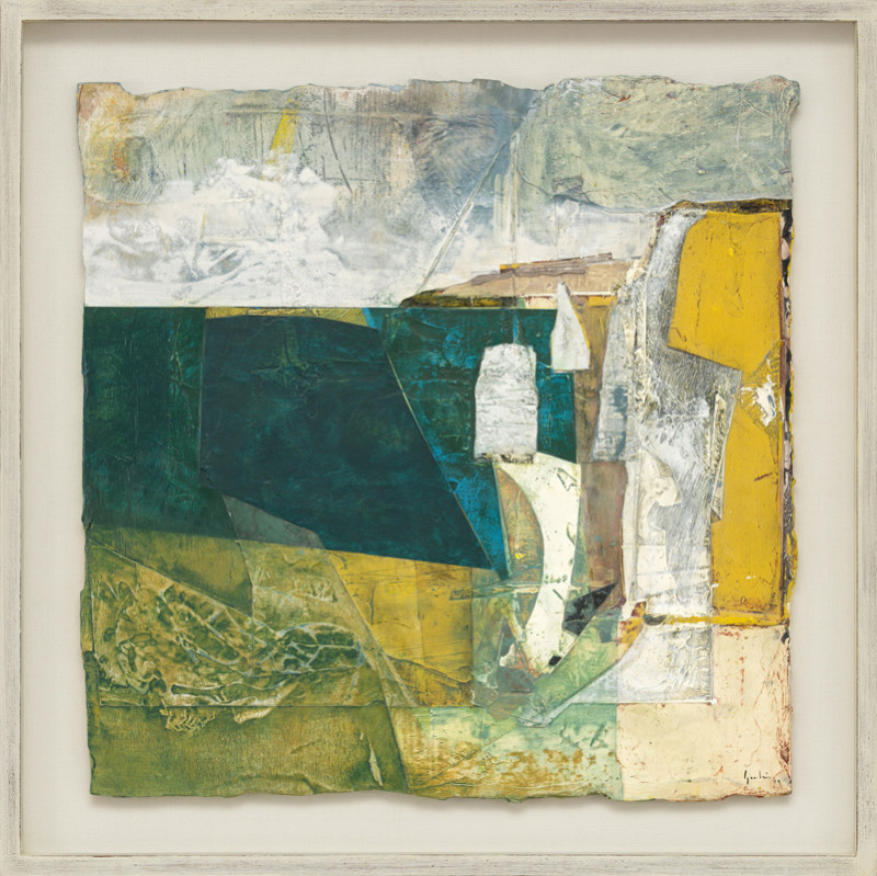 Jeremy Gardiner Cat 10 Chalk Stacks, Dorset signed and dated 2019 titled verso acrylic and jesmonite on poplar panel 60 x 60 cms (23½ x 23½ ins) framed: 73 x 73 cms (28½ x 28½ ins)