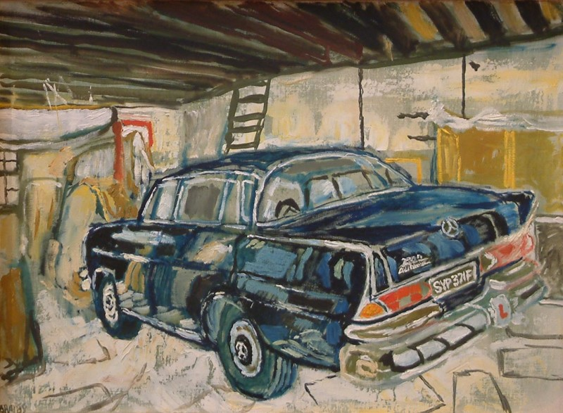 John Bratby, Merc in the Garage with LPlate